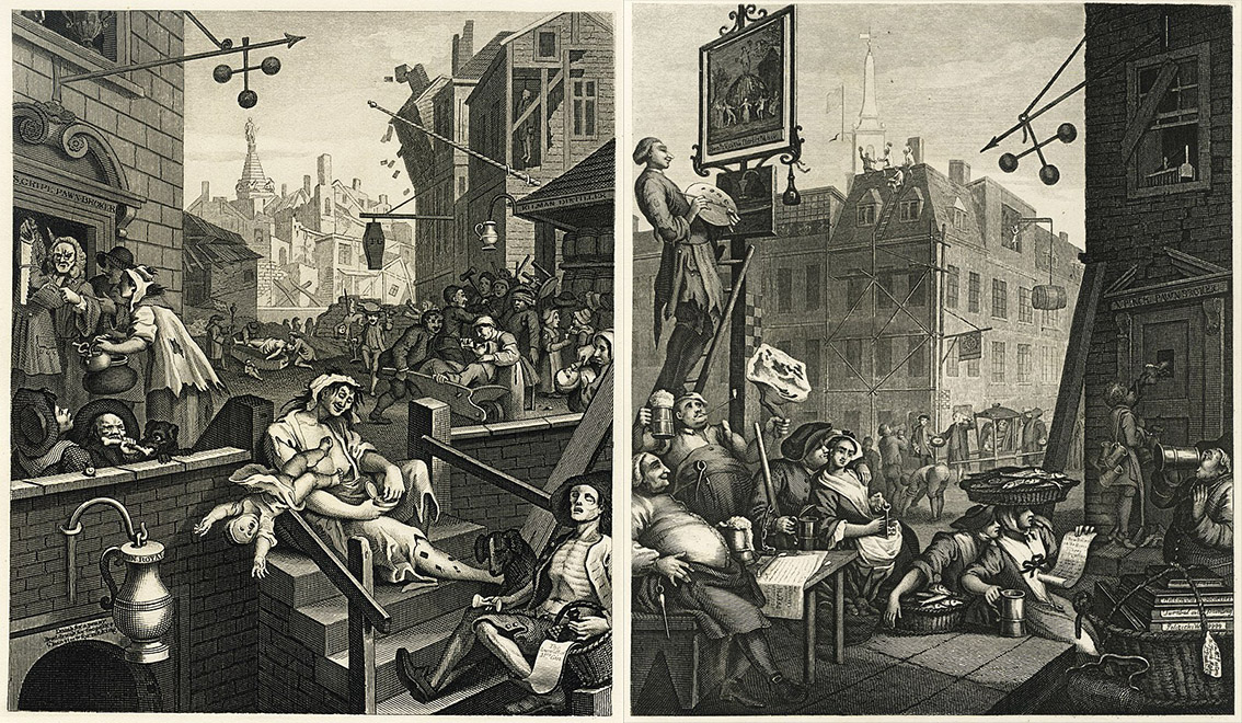 Gin lane and Beer street posters from 1700s