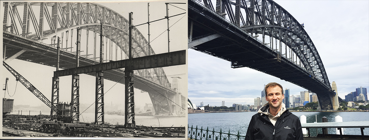 The Sydney Harbour Bridge from Lunar park then and now