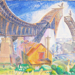 Painting by Grace Cossington-Smith of the construction of the Sydney Harbour Bridge