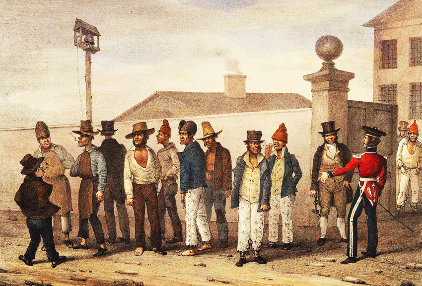 Convicts in front of The Hyde Park Barracks painting 1830